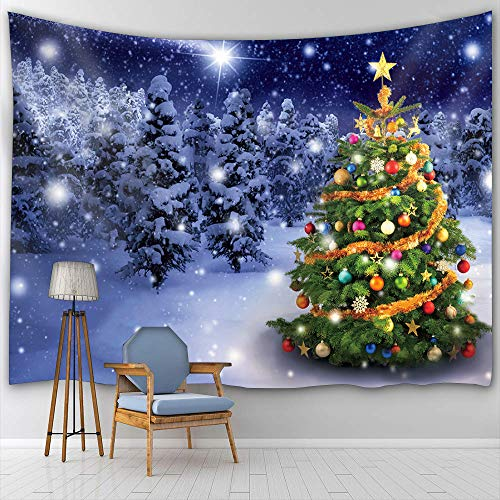 (BTTY Christmas Tree Wall Hanging Tapestry Art Painting Decoration for Bedding Living Room Bedroom Dorm Decor Polyester Fabric Tapestry Wall Hanging,59 × 70 Inches (59'×70', Multi11) )