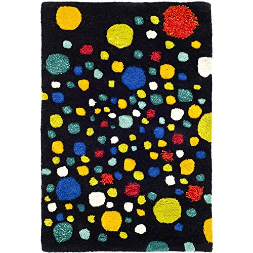 Safavieh Soho Collection SOH728A Handmade Abstract Polka Dots Black and Multi Premium Wool Area Rug 5 x 8