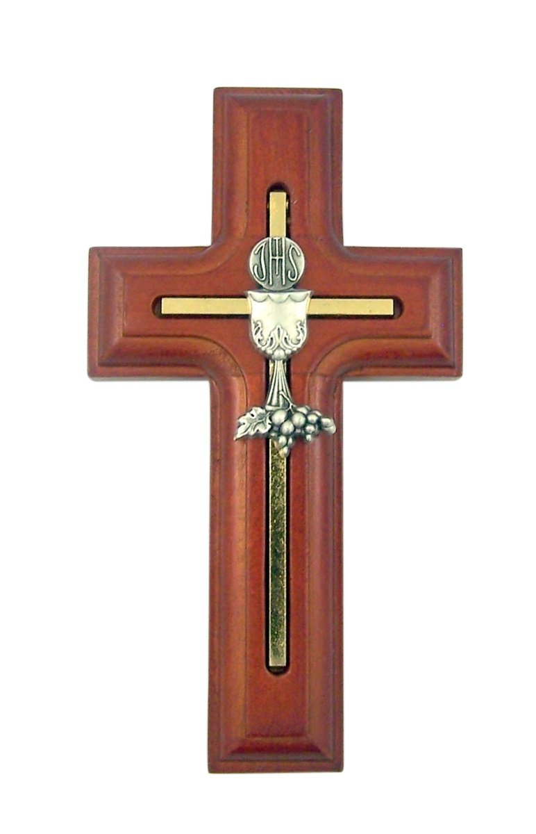 First Communion Cross Rosewood Wooden with Inlay Chalice and Host, 5 Inch