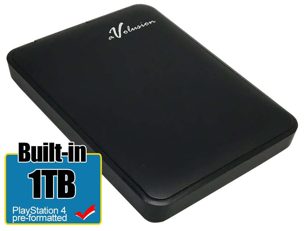 Avolusion HD250U3-Z1 USB 3.0 Slim & Lightweight Portable PS4 External Hard Drive (PS4 Pre-Formatted) Black - 2 Year Warranty (1TB)