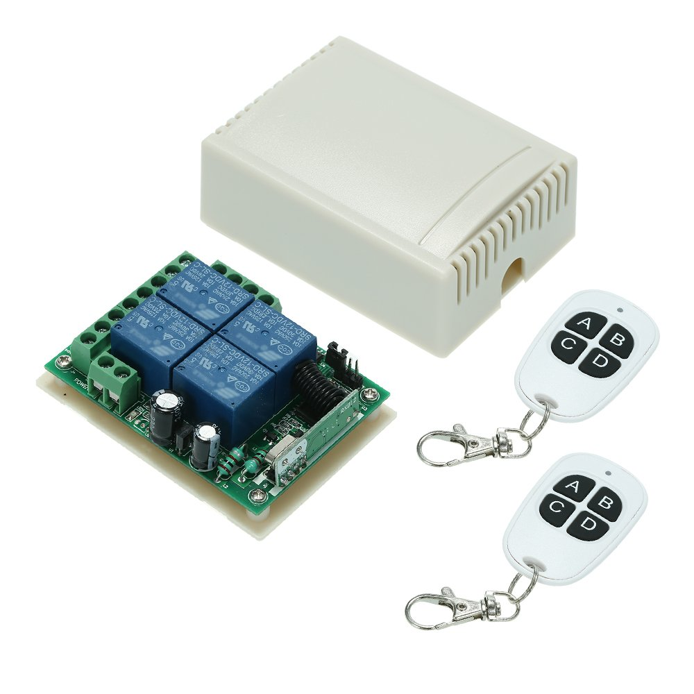 Walmeck Wireless RF Switch Long Range 433Mhz 4CH DC12V Relay Receiver Module Transmitter Toggle Switch RF Relay