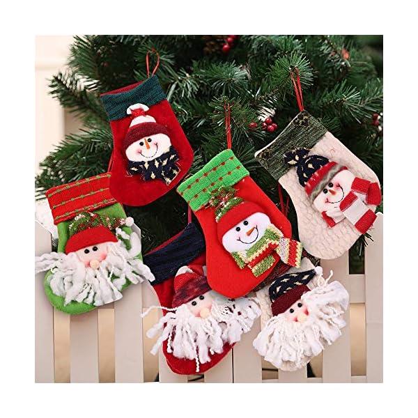 MMTX Calze di Natale Decorazioni Calzini Decor per Camino Set 6 Decorazioni Natalizie Camino da Appendere Candy Sacchetti Regalo per Albero di Natale Festa di Natale Decorazioni 3 spesavip