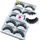 5 Pairs/Box 3D Real Mink False Eyelashes LASGOOS 100% Siberian Luxurious Wispy Natural Cross Thick Long Fake Eye Lashes K01