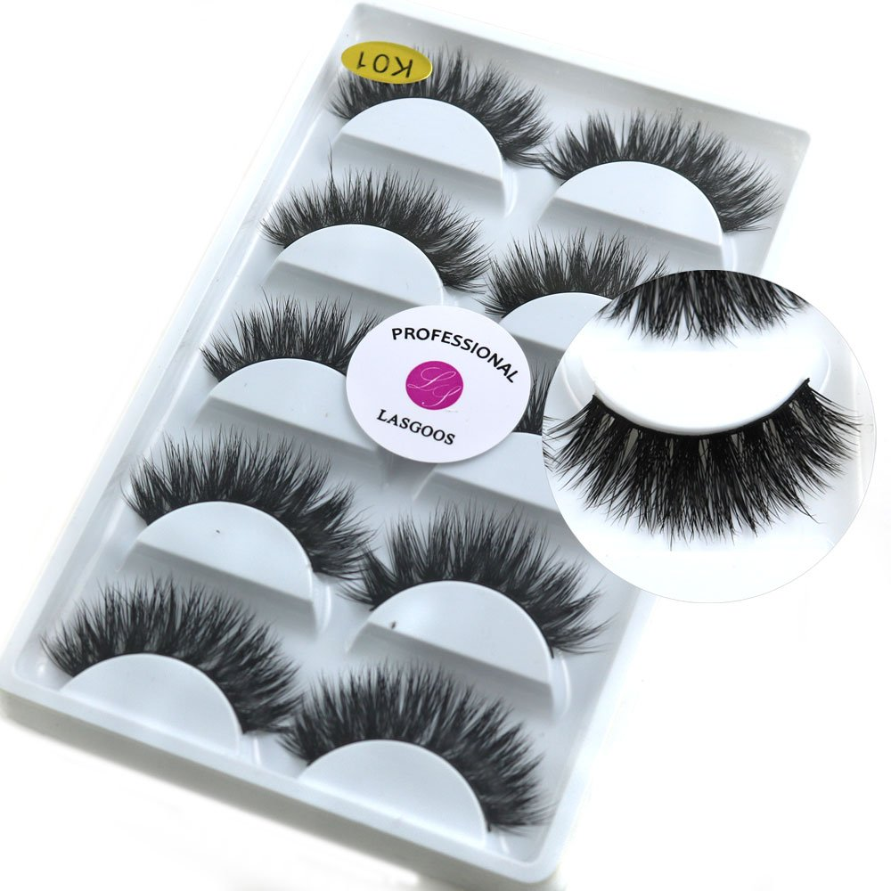 Amazon Com Mink Eyelashes Mink Lashes Natural Lasgoos 3d Luxurious Cross Thick Long Drama Reusable Black Eye Lashes Wholesale Extensions For Eye Makeup 5 Pairs Pack K01 Beauty