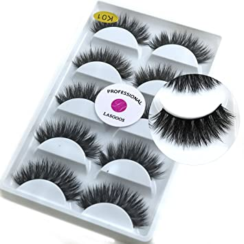 d9ab7e10e7a Amazon.com : 5 Pairs/Box 3D Mink False Eyelashes LASGOOS Luxurious Cross  Thick Long Fake Eye Lashes Eye Makeup : Beauty