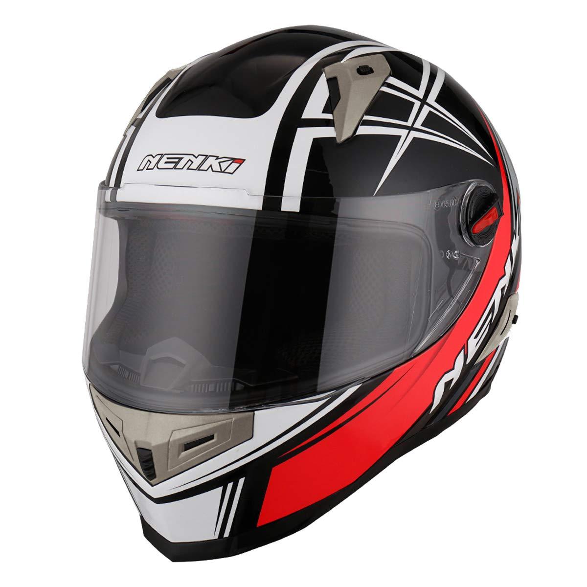 NENKI Full Face Motorcycle Motorbike Helmet NK-863,ECE Approved Medium, Black Green Grey