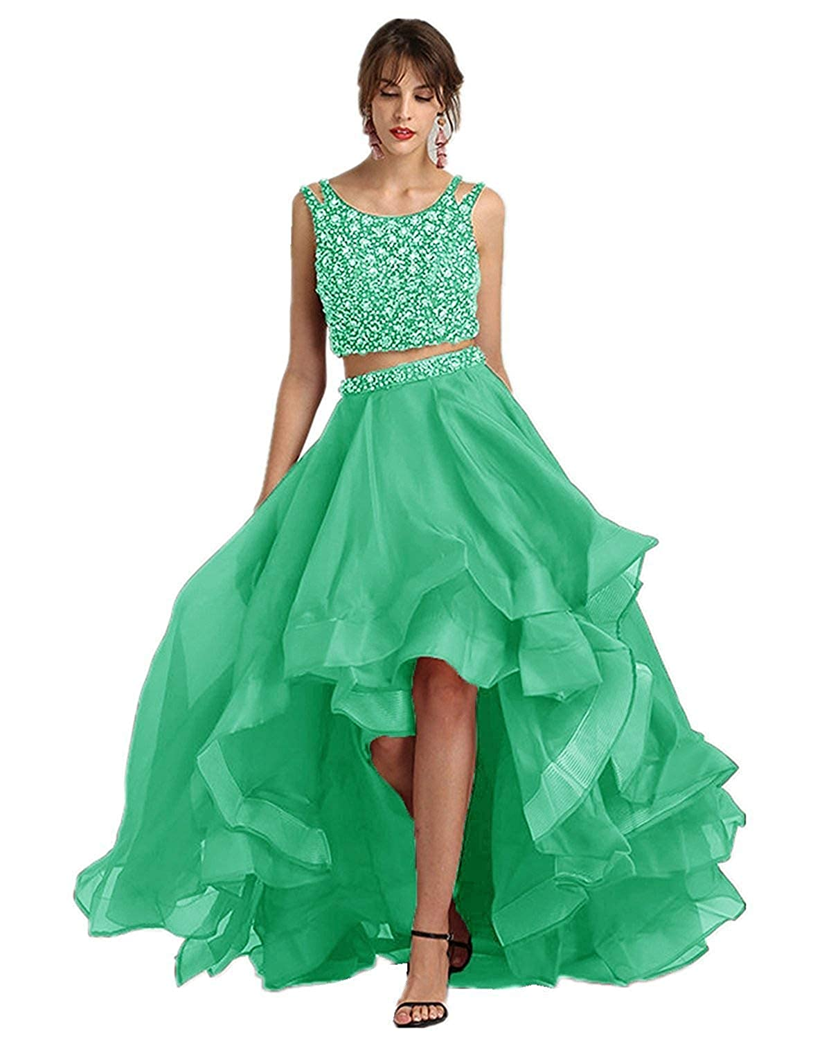 Green 20KyleBird Sexy Two Piece High Low Tulle Prom Dresses Long Sleeveless ALine Beaded Evening Party Gowns for Women Formal
