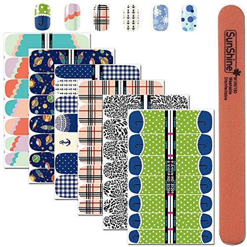 WOKOTO 6Pcs Nail Polish Stickers Strips Self Adhesive Dotting Snow Anchor Image Full Nails Decals Wraps For Nail Art With 1Pc Nail Buffers Files