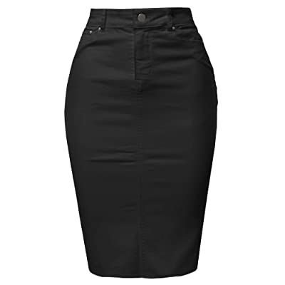 A2Y Women's Slim Fit Rayon Knee Length Unhem Back Slit Denim Jean Pencil Skirt at Women's Clothing store