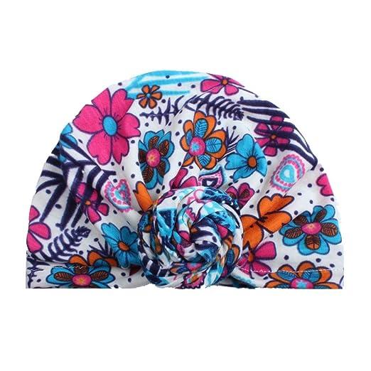 6e4d1be49ed2b1 Newborn Toddler Kids Baby Boy Girl Turban Cotton Beanie Hat Floral Cap  Headwear Hat (A