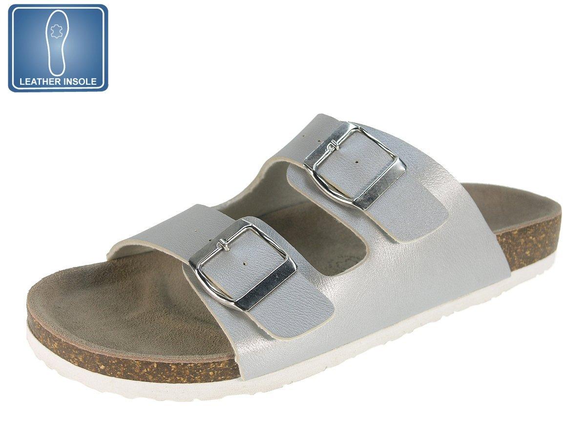 Beppi Damen Pantoletten mit Comfort Lederflussbett Sandalen mit Korksohle