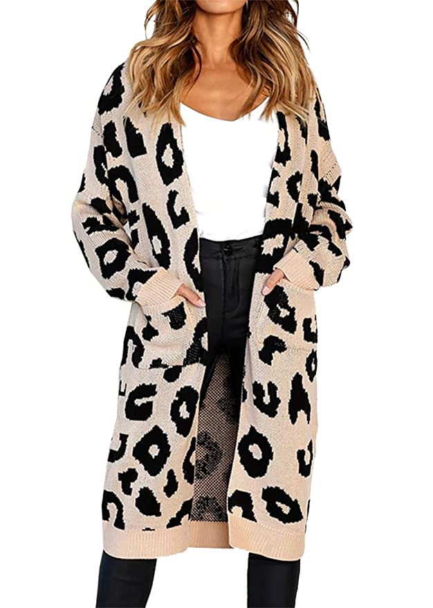 Open Front Leopard Knit Long Cardigan