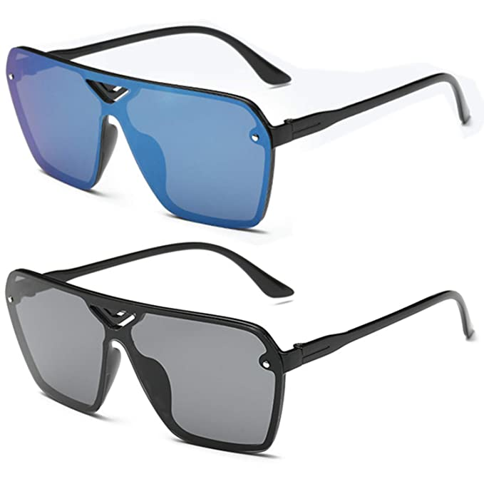 0ffd3a78e922c Amazon.com  2 Pack Oversized Flat Top Shield Sunglasses for Men Women  Mirrored Lens Rimless  Clothing