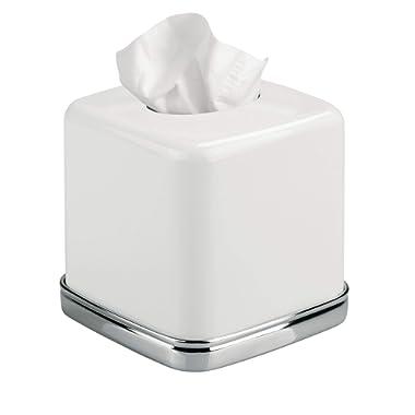 InterDesign York Bath Collection, Facial Tissue Box Cover/Holder for Bathroom Vanity Countertops - White