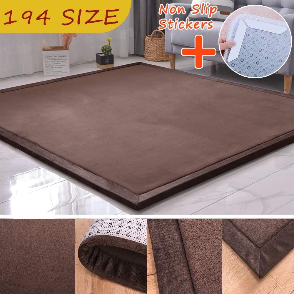 MODKOY alfombras Lavables para pasillos Largos Lavable Tejidas Shaggy Ultra Suaves Cesped Sintetico Vinilo Infantil Accesible para Entrada Casa Comedor Dormitorio 70x140cm marrón