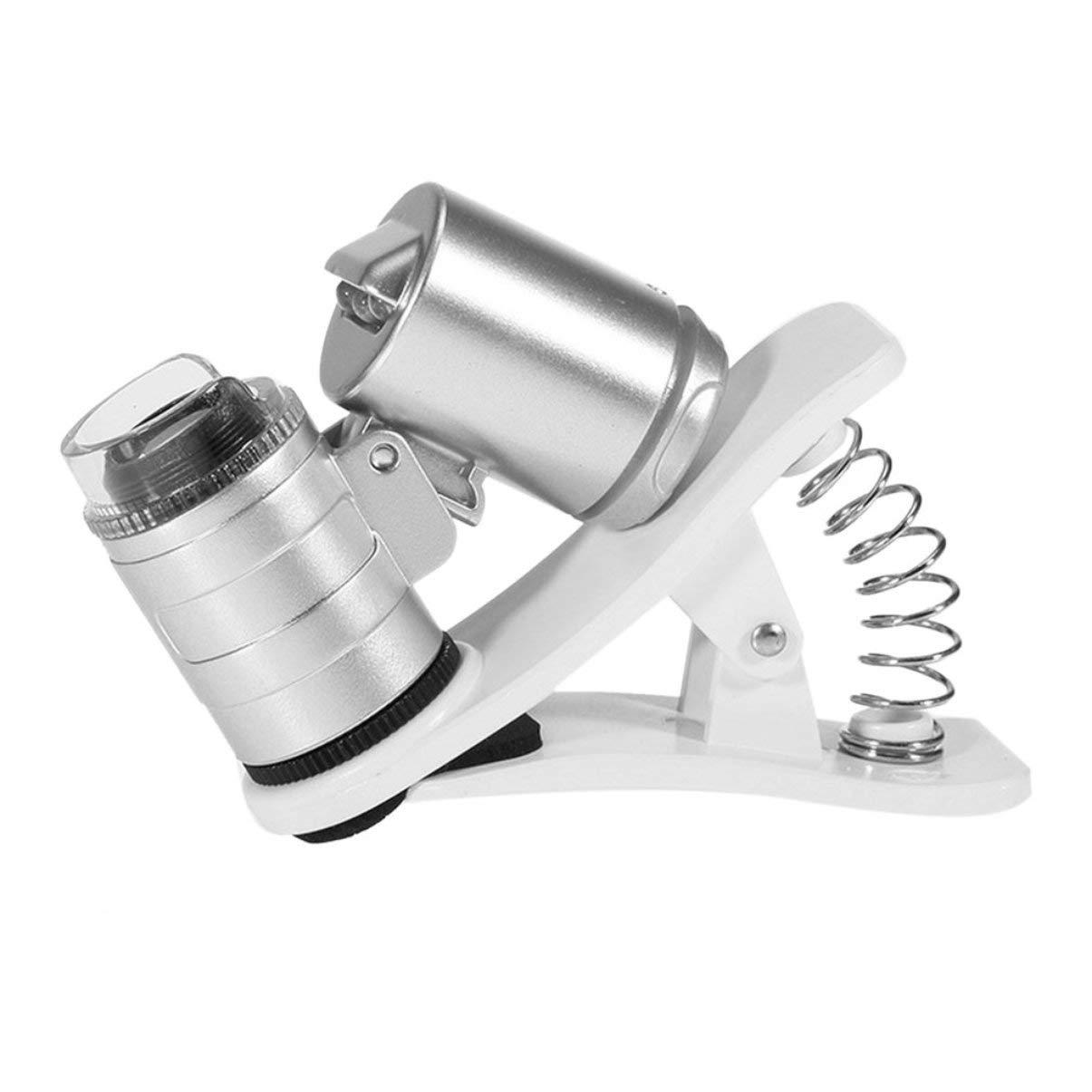 JullyeleITgant Microscopio da Macchina Fotografica Universale 60X Mini Microscopio Portatile Clip-on con luci LED/UV per Smart Phone