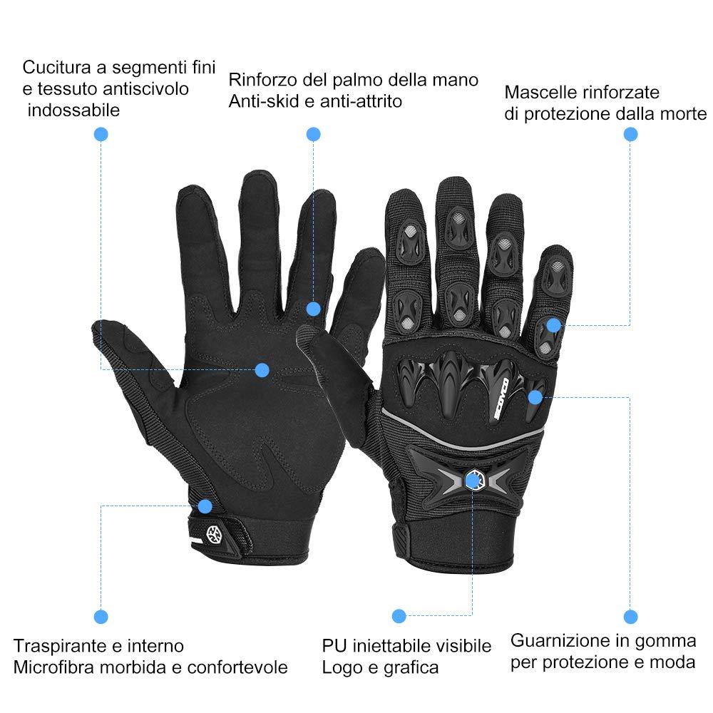 Guanti Moto Estivi Full Finger Hard Knuckle Multiprotezione Traspiranti Resistenti Guanti Sportivi per Donna Uomo Moto Ciclismo Scooter Arrampicata Campeggio L Rosso