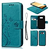 Galaxy S8 Case, S8 Case Embossed Love PU Leather Case TPU Shock Bumper Detachable Magnetic Wallet Case with Slot Wallet Wrist Strap Cover for Samsung Galaxy S8