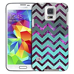 Samsung Galaxy S5 Case, Slim Fit Snap On Cover by Trek Nebula on Chevron Grey Green Turquoise Trans Case