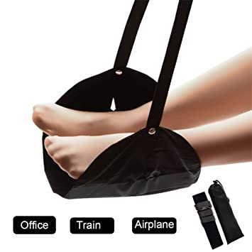 4 Kits de accesorios de viaje para avión, oficina y trenes, reposapiés portátil de viaje hamaca para escritorio, vuelo equipaje de mano ajustable pierna ...