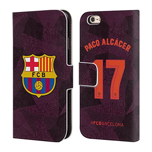 Official FC Barcelona Paco Alcácer 2017/18 Players Third Kit Group 1 Leather Book Wallet Case Cover for iPhone 6 / iPhone 6s