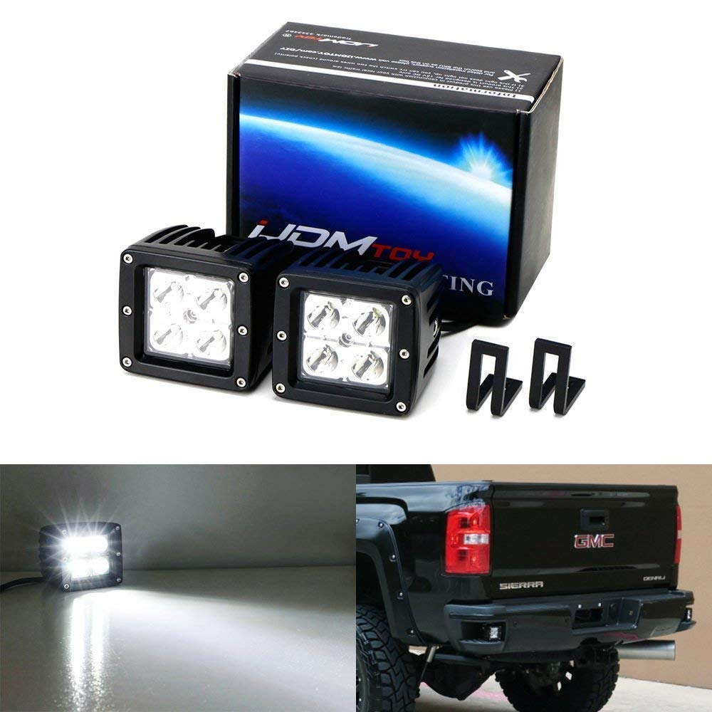iJDMTOY Rear Bumper Mount Searchlight Reverse LED Pod Light Kit For 2015-up Chevy Silverado & GMC Sierra, Includes (2) 20W High Power CREE LED Cubes & Bumper Footstep Mounting Brackets iJDMTOY Auto Accessories Pair 3-Inch 2x2 LED Auxiliary Cube Light