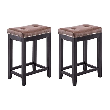 Cool Yeefy Leather Bar Stools 24 Counter Height Stools Mid Century With Soild Wood Legs Pub Chair Set Of 2 Brown Cjindustries Chair Design For Home Cjindustriesco