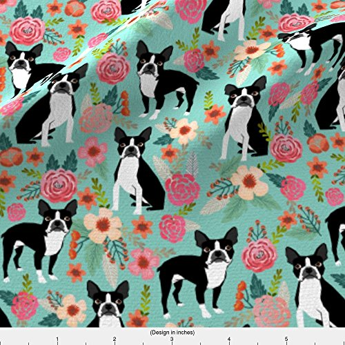 Boston Terriers Fabric - Boston Terrier Sweet Vintage Florals Flowers Dog Pet Design Mint Girls Spring Dog by petfriendly - Printed on Basic Cotton Ultra Fabric by the Yard - Boston Terrier Fabric