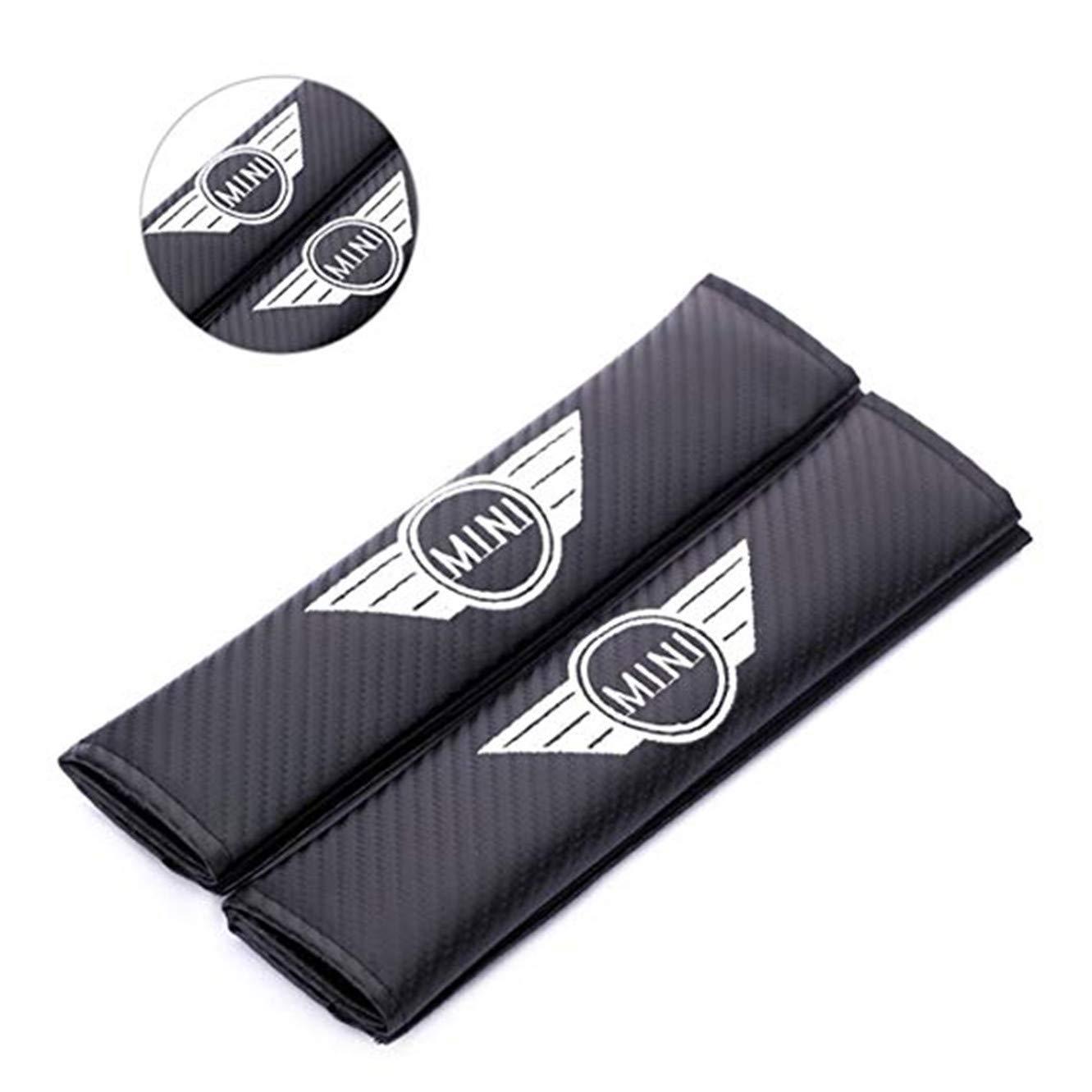 2 Fundas de Fibra de Carbono para cintur/ón de Seguridad de Coche con Bordado para Mini fanlinxin