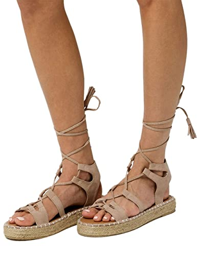 45ed875d4737 Image Unavailable. Image not available for. Color  Qupid Lace Up Gladiator  Taupe Espadrilles Flatform Sandals ...