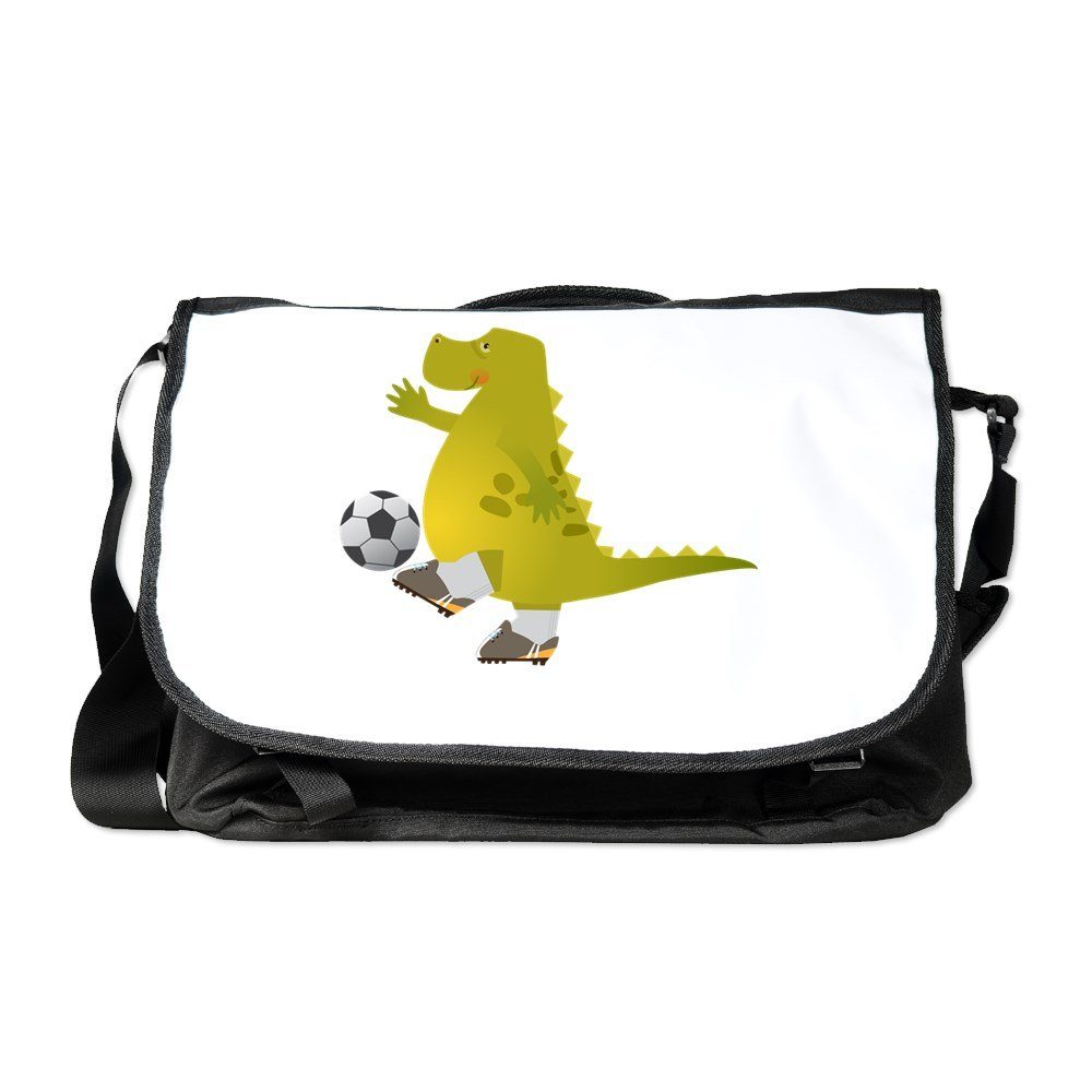 Truly Teague Khaki Messenger Bag Dinosaur Playing Soccer