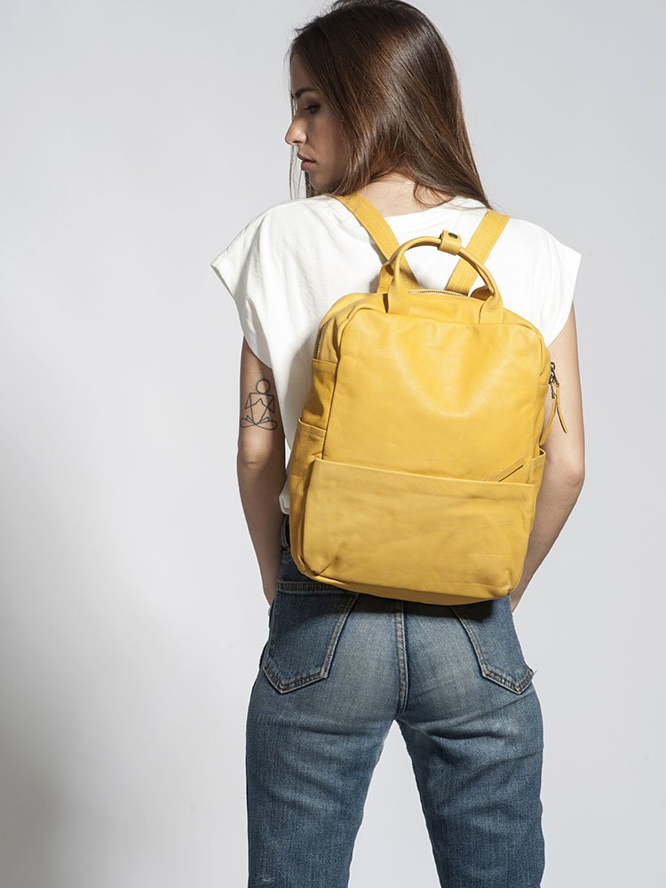 Handcrafted Striking Fashionable Genuine Yellow Leather 13 Inch Laptop Student Backpack Rucksack