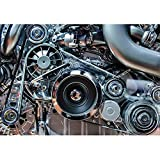 wall26 - Car Engine, Concept of Modern Automobile Motor with Metal, Chrome, Plastic Parts - Removable Wall Mural | Self-adhesive Large Wallpaper - 100x144 inches