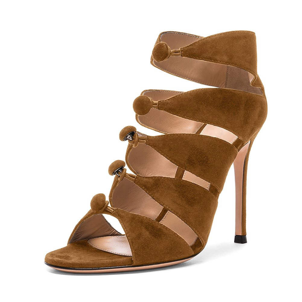 f30351cf6705b onlymaker Women Open Toe Gladiator Shoes High Heels Pump Lace Up Sandals - Brown-15  Amazon.co.uk  Shoes   Bags