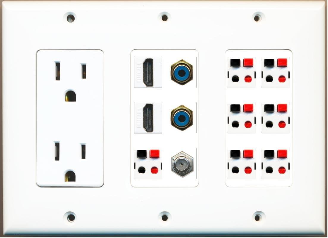 RiteAV - (3 Gang 15A Power Outlet 2 HDMI Coax 2 RCA Blue 7 Speaker Jack Wall Plate White