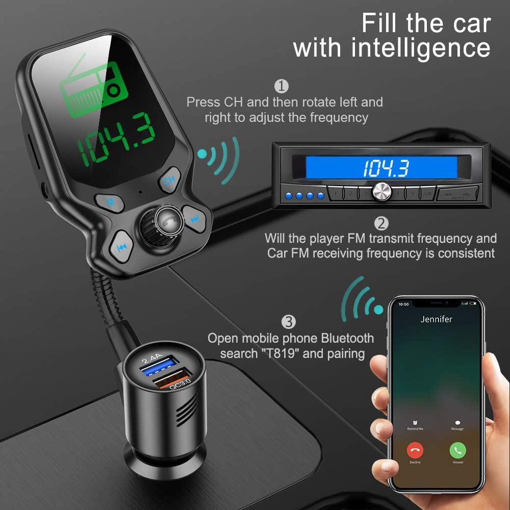 FRUCASE FM Bluetooth Transmitter QC3.0 and Smart 2.4A Dual USB Ports Bluetooth car aux 1.77 Color Screen EQ Modes Car Bluetooth Adapter Hands-Free Calls Wireless Radio Adapter Hands-Free