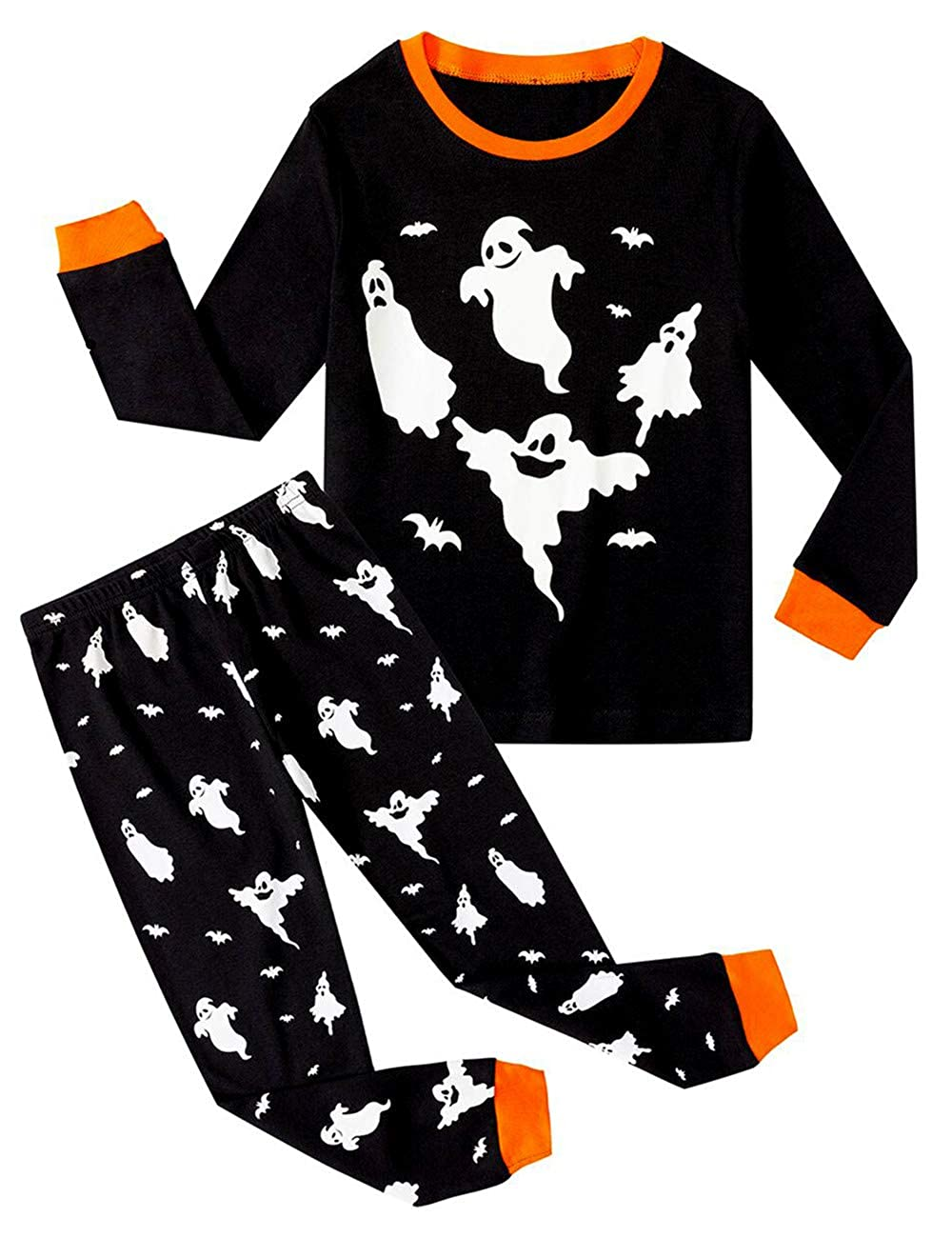 Boys Pyjamas Set 100% Cotton Kids Long Sleeves Shirts Pants Pjs Nightwear Pumpkin Ghost Halloween Party Costumes for Toddler Children BB814