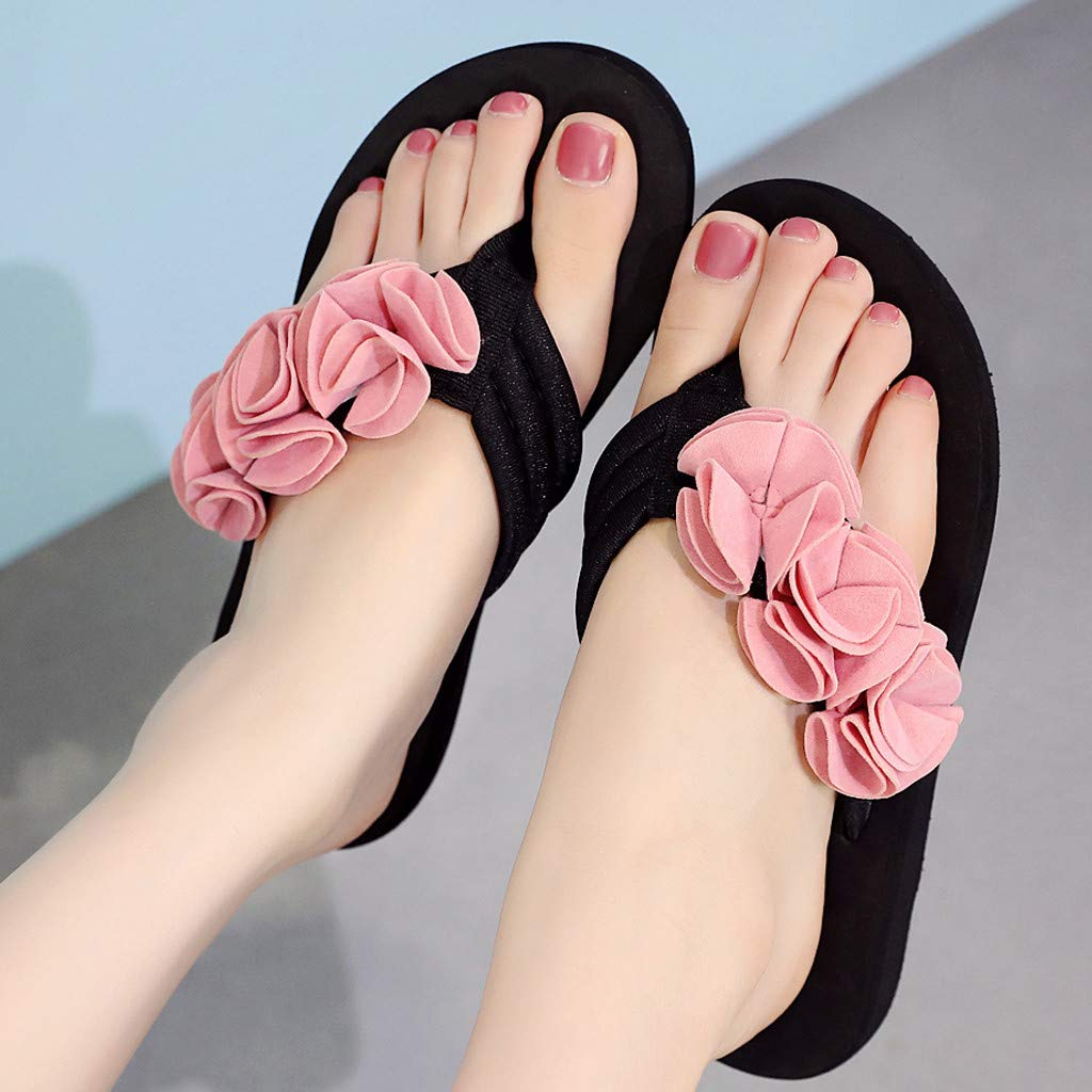 Frunalte Women Casual Shoes Summer Fashion Women's Flower Clip Toe Flip Flops Non-Slip Wedges Beach Slippers Pink by Frunalte shoes (Image #3)
