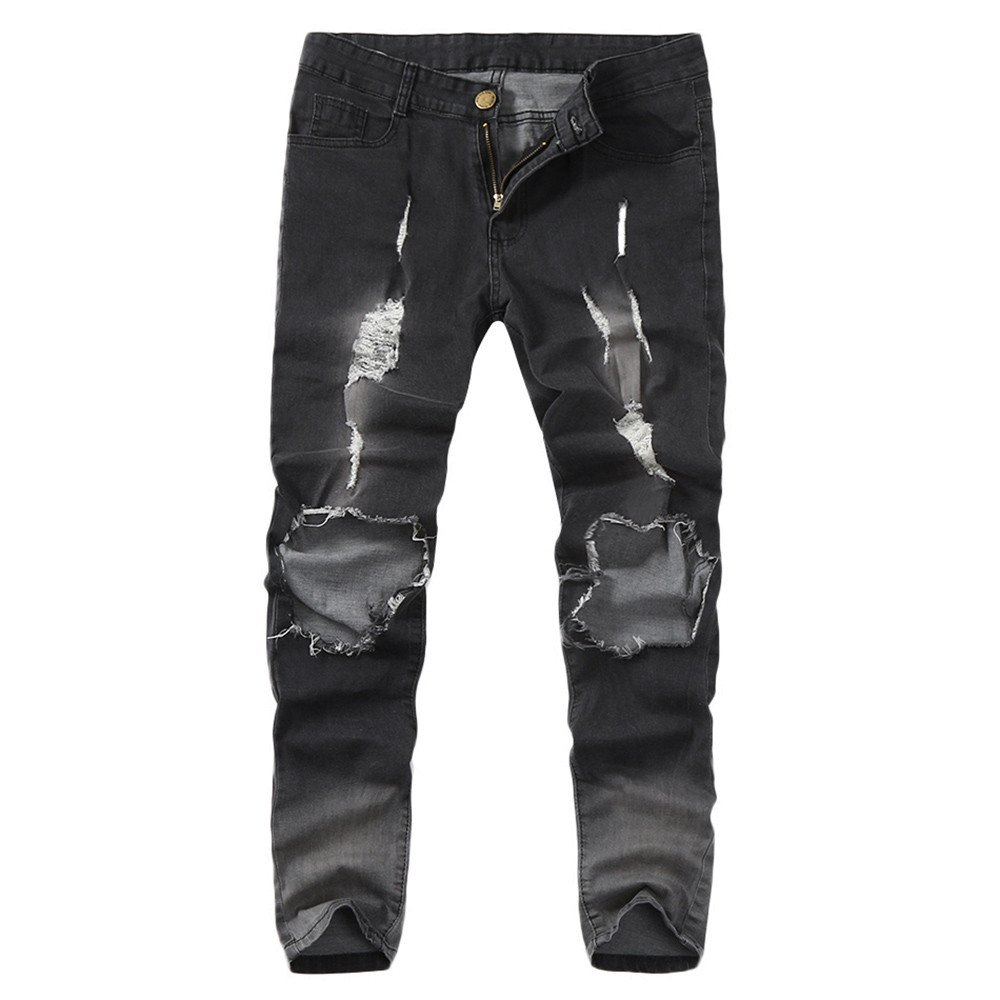 Destroyed Hole Jeans for Men Ripped Distressed Skinny Feet Slim Fit Denim Pants (M, Gray) by Yihaojia Men Pants (Image #1)