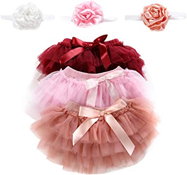 Skorts for Baby Girls Cotton Tulle Ruffle with Bow Baby Bloomer Diaper Cover and Headband Photography Prop Set