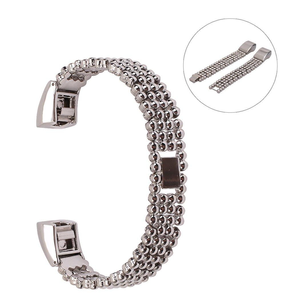 交換用時計バンドFibit ALTA / HR HuaForCity調節可能ステンレススチールストラップスマート用時計Wristbands Fibit ALTA / HR 17.5 CM  シルバー B074NZ5H58