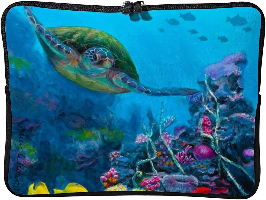 Reversible Hawaii Beach sea Turtle 10inch Neoprene Laptop Sleeve Case Protective Computer Cover Portable Carrying Bag Pouch for Notebook