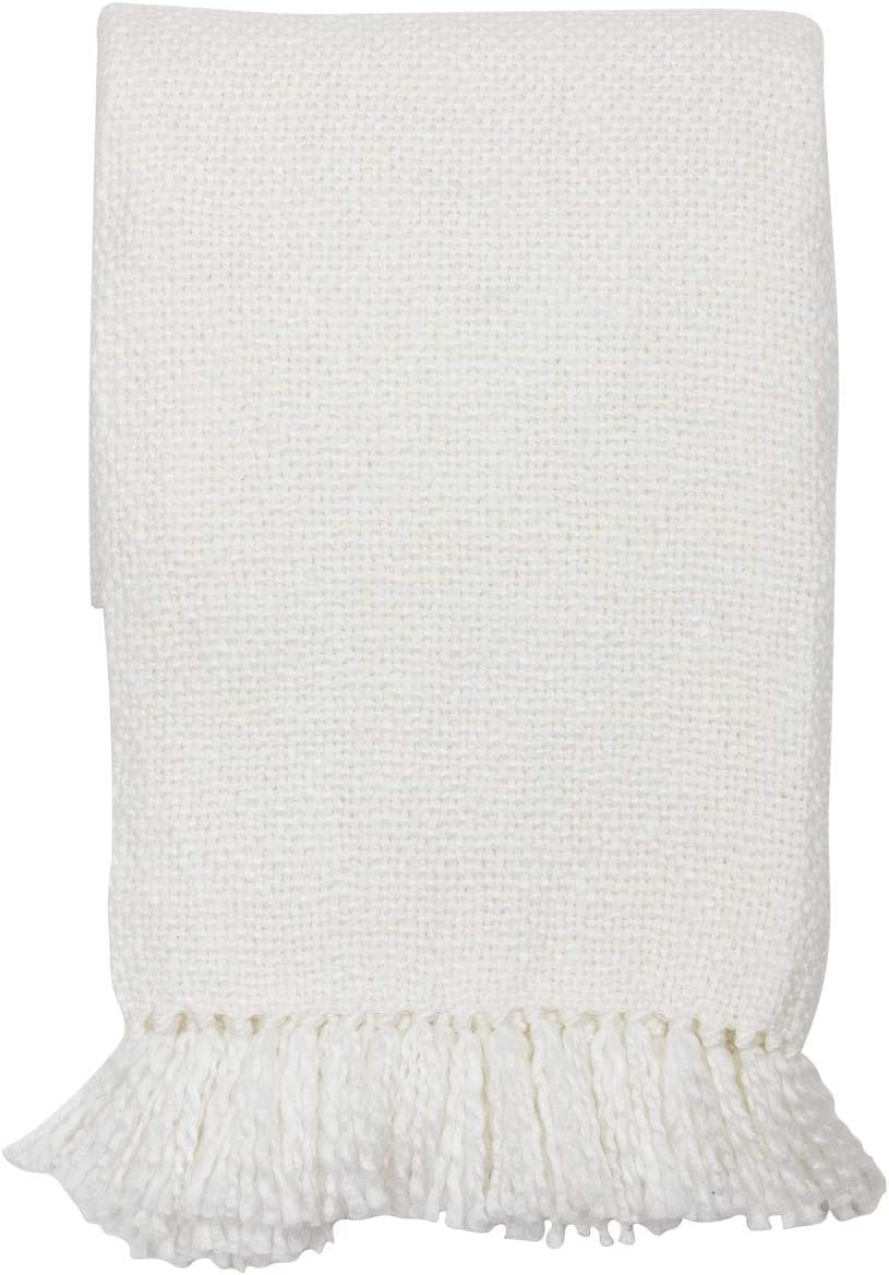 Foreside Home & Garden White Woven 50 x 60 inch Acrylic Throw Blanket with Hand Tied Fringe