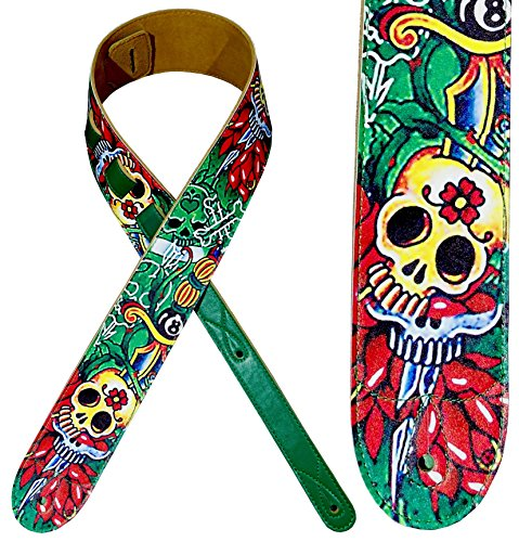 Guitar Strap, Leather on top and Soft Suede Backing, Handmade, Awesome Design, Comfortable, Electric / Acoustic Guitar and Bass Gift, Skull Artistic Pattern Green