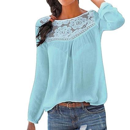 Camisas Mujer,❤ Modaworld Blusas de Manga Larga de Encaje Casual para Mujer Camiseta