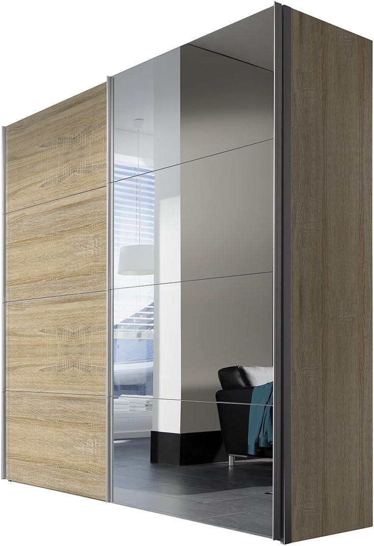 Solutions 47500 – 760 Armario de Puertas correderas (2 Puertas, Estructura y Frontal de Roble de Sonoma, Espejo, Mango Listones alufarben, 68 x 200 x 216 cm: Amazon.es: Hogar