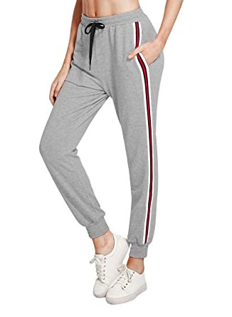 e132a133f498cf Cindeyar Damen Hosen Jogginghose Casual Sporthose Streifen Elastischer  Freizeithose(ga,s)