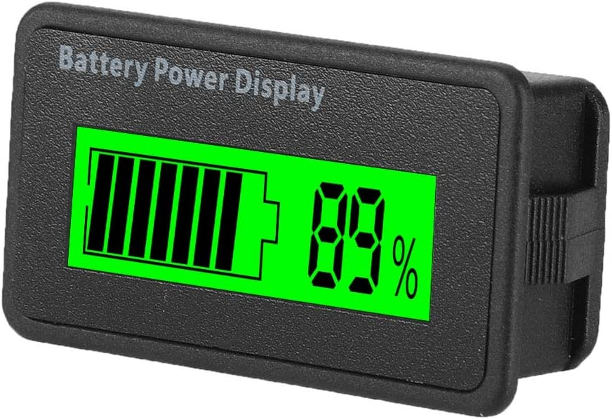Universal Battery Capacity Indicator Tester Voltmeter with LCD Display 12-48V Battery Power Display with Reverse Connection Protection White