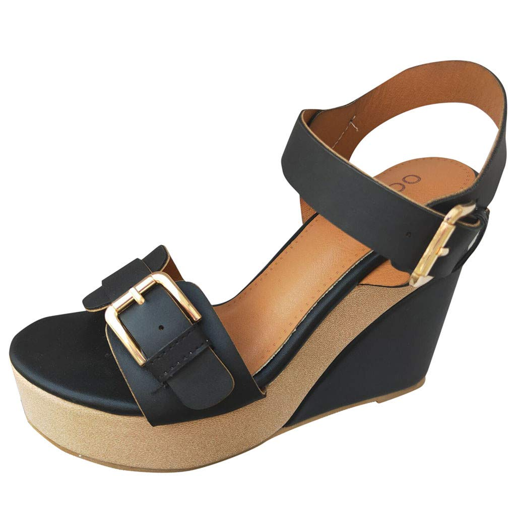 Nuewofally Ladies Sandals Summer Mid-Heel Adjustable Buckle Block Chunky Comfortable Solid Color Open Toe Rome Shoes Black