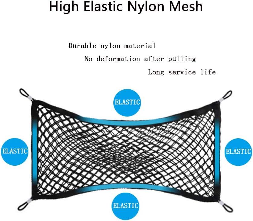 universell elastisches Nylon-Netz 117 x 41 cm Schwarz MOAMUN Kofferraum-Netz mit 4 Haken